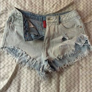 distressed high waisted denim jeans